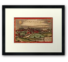Brouwershaven Vintage map.Geography Netherlands ,city view,building,political,Lithography,historical fashion,geo design,Cartography,Country,Science,history,urban Framed Print