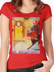 Yellow and Blue Kandinsky painting Women's Fitted Scoop T-Shirt