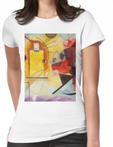 Yellow and Blue Kandinsky painting Womens Fitted T-Shirt