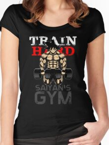 TRAIN HARD - Goku's GYM Women's Fitted Scoop T-Shirt