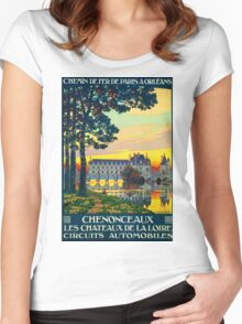 Chenonceaux, French Travel Poster Women's Fitted Scoop T-Shirt