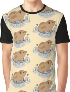 Crazy Guinea Pig Lady (Banner) Graphic T-Shirt