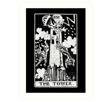 The Tower Tarot Card - Major Arcana - fortune telling - occult Art Print