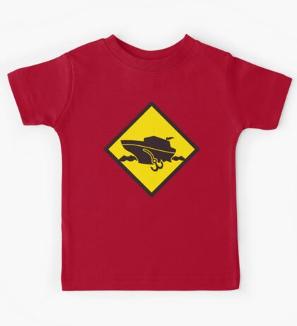 DANGER warning sign Cruise liner boat crossing Kids Tee