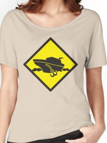 DANGER warning sign Cruise liner boat crossing Women's Relaxed Fit T-Shirt