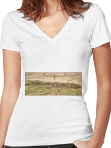 Bruhl Vintage map.Geography Germany ,city view,building,political,Lithography,historical fashion,geo design,Cartography,Country,Science,history,urban Women's Fitted V-Neck T-Shirt