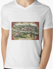 Budapest(2) Vintage map.Geography Hungary ,city view,building,political,Lithography,historical fashion,geo design,Cartography,Country,Science,history,urban Mens V-Neck T-Shirt