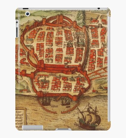 Cagliari Vintage map.Geography Italy ,city view,building,political,Lithography,historical fashion,geo design,Cartography,Country,Science,history,urban iPad Case/Skin