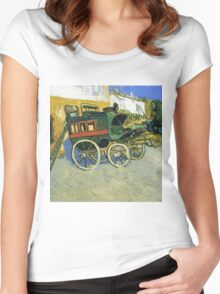 Van Gogh painting of carriages Women's Fitted Scoop T-Shirt