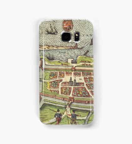 Calais Vintage map.Geography France ,city view,building,political,Lithography,historical fashion,geo design,Cartography,Country,Science,history,urban Samsung Galaxy Case/Skin