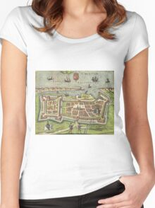 Calais Vintage map.Geography France ,city view,building,political,Lithography,historical fashion,geo design,Cartography,Country,Science,history,urban Women's Fitted Scoop T-Shirt