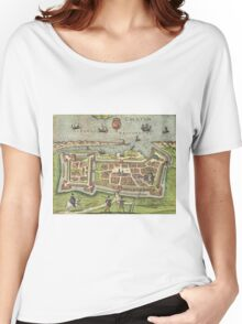 Calais Vintage map.Geography France ,city view,building,political,Lithography,historical fashion,geo design,Cartography,Country,Science,history,urban Women's Relaxed Fit T-Shirt