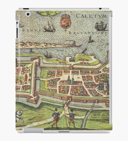 Calais Vintage map.Geography France ,city view,building,political,Lithography,historical fashion,geo design,Cartography,Country,Science,history,urban iPad Case/Skin