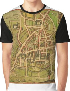 Cambridge Vintage map.Geography Great Britain ,city view,building,political,Lithography,historical fashion,geo design,Cartography,Country,Science,history,urban Graphic T-Shirt