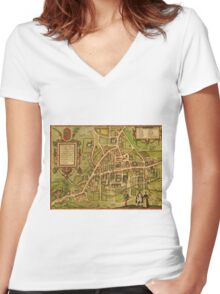 Cambridge Vintage map.Geography Great Britain ,city view,building,political,Lithography,historical fashion,geo design,Cartography,Country,Science,history,urban Women's Fitted V-Neck T-Shirt