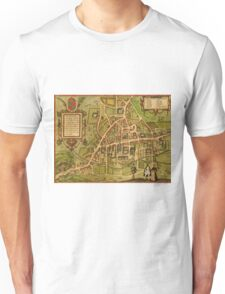 Cambridge Vintage map.Geography Great Britain ,city view,building,political,Lithography,historical fashion,geo design,Cartography,Country,Science,history,urban Unisex T-Shirt