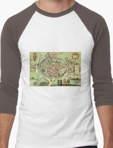 Canterbury Vintage map.Geography Great Britain ,city view,building,political,Lithography,historical fashion,geo design,Cartography,Country,Science,history,urban Men's Baseball ¾ T-Shirt