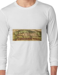 Casablanca Vintage map.Geography Morocco ,city view,building,political,Lithography,historical fashion,geo design,Cartography,Country,Science,history,urban Long Sleeve T-Shirt