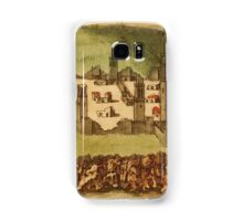 Casablanca Vintage map.Geography Morocco ,city view,building,political,Lithography,historical fashion,geo design,Cartography,Country,Science,history,urban Samsung Galaxy Case/Skin