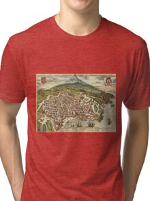 Catania Vintage map.Geography Italy ,city view,building,political,Lithography,historical fashion,geo design,Cartography,Country,Science,history,urban Tri-blend T-Shirt