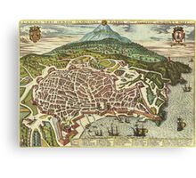 Catania Vintage map.Geography Italy ,city view,building,political,Lithography,historical fashion,geo design,Cartography,Country,Science,history,urban Canvas Print