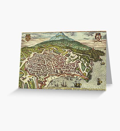 Catania Vintage map.Geography Italy ,city view,building,political,Lithography,historical fashion,geo design,Cartography,Country,Science,history,urban Greeting Card