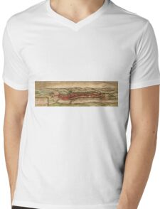 Cheb Vintage map.Geography Czech Republic ,city view,building,political,Lithography,historical fashion,geo design,Cartography,Country,Science,history,urban Mens V-Neck T-Shirt