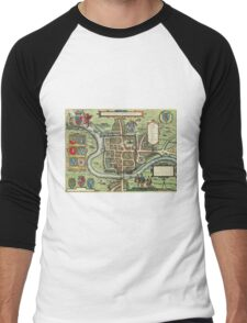 Chester Vintage map.Geography Great Britain ,city view,building,political,Lithography,historical fashion,geo design,Cartography,Country,Science,history,urban Men's Baseball ¾ T-Shirt