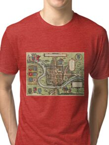Chester Vintage map.Geography Great Britain ,city view,building,political,Lithography,historical fashion,geo design,Cartography,Country,Science,history,urban Tri-blend T-Shirt