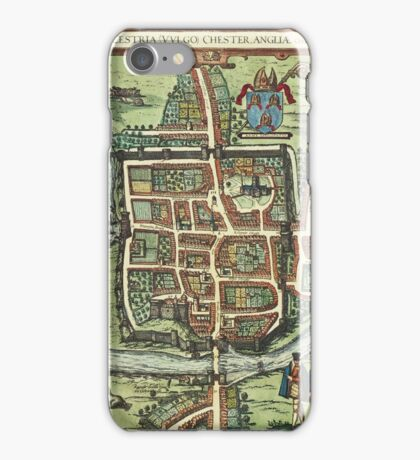 Chester Vintage map.Geography Great Britain ,city view,building,political,Lithography,historical fashion,geo design,Cartography,Country,Science,history,urban iPhone Case/Skin