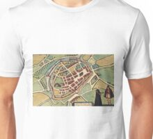 Chimay Vintage map.Geography Belgium ,city view,building,political,Lithography,historical fashion,geo design,Cartography,Country,Science,history,urban Unisex T-Shirt