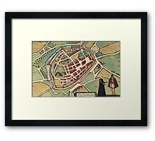 Chimay Vintage map.Geography Belgium ,city view,building,political,Lithography,historical fashion,geo design,Cartography,Country,Science,history,urban Framed Print