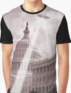 UFO Over Capital 2 (Sepia) Graphic T-Shirt