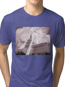 UFO Over Capital 2 (Sepia) Tri-blend T-Shirt