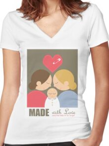 2 Girls & a Baby Women's Fitted V-Neck T-Shirt
