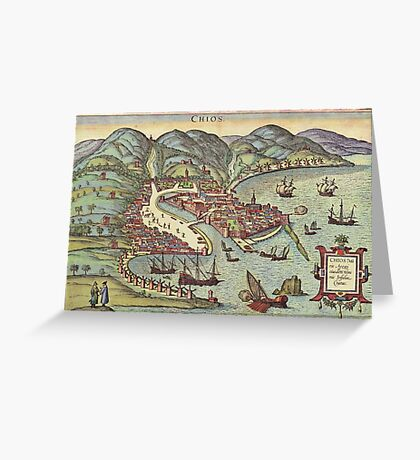 Chios Vintage map.Geography Greece ,city view,building,political,Lithography,historical fashion,geo design,Cartography,Country,Science,history,urban Greeting Card