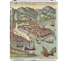 Chios Vintage map.Geography Greece ,city view,building,political,Lithography,historical fashion,geo design,Cartography,Country,Science,history,urban iPad Case/Skin