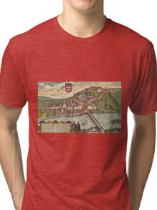 Coimbra Vintage map.Geography Portugal ,city view,building,political,Lithography,historical fashion,geo design,Cartography,Country,Science,history,urban Tri-blend T-Shirt