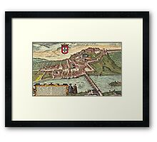 Coimbra Vintage map.Geography Portugal ,city view,building,political,Lithography,historical fashion,geo design,Cartography,Country,Science,history,urban Framed Print