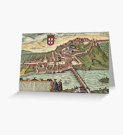Coimbra Vintage map.Geography Portugal ,city view,building,political,Lithography,historical fashion,geo design,Cartography,Country,Science,history,urban Greeting Card