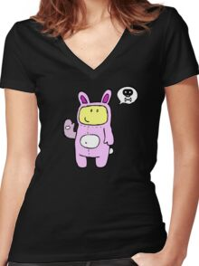 Bad Bunny Women's Fitted V-Neck T-Shirt