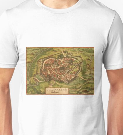 Colmar Vintage map.Geography France ,city view,building,political,Lithography,historical fashion,geo design,Cartography,Country,Science,history,urban Unisex T-Shirt