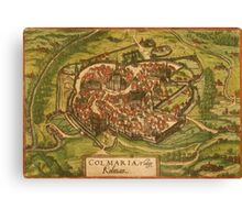 Colmar Vintage map.Geography France ,city view,building,political,Lithography,historical fashion,geo design,Cartography,Country,Science,history,urban Canvas Print