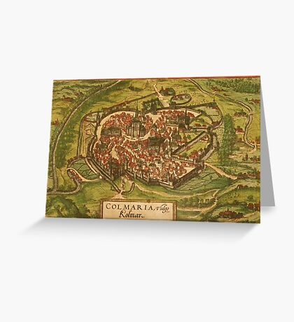 Colmar Vintage map.Geography France ,city view,building,political,Lithography,historical fashion,geo design,Cartography,Country,Science,history,urban Greeting Card