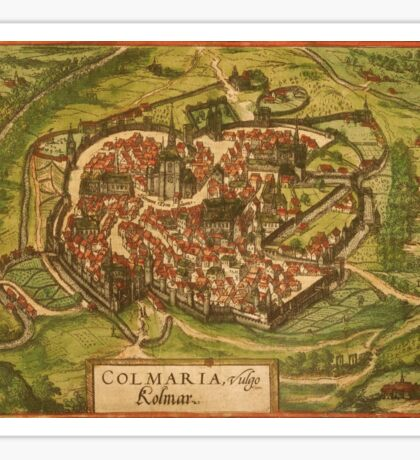 Colmar Vintage map.Geography France ,city view,building,political,Lithography,historical fashion,geo design,Cartography,Country,Science,history,urban Sticker