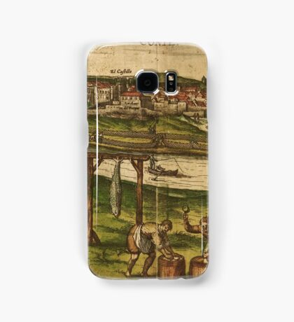 Conil Vintage map.Geography Spain ,city view,building,political,Lithography,historical fashion,geo design,Cartography,Country,Science,history,urban Samsung Galaxy Case/Skin