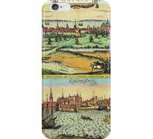 Copenhagen Vintage map.Geography Denmark ,city view,building,political,Lithography,historical fashion,geo design,Cartography,Country,Science,history,urban iPhone Case/Skin