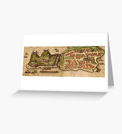 Corfu Vintage map.Geography Greece ,city view,building,political,Lithography,historical fashion,geo design,Cartography,Country,Science,history,urban Greeting Card