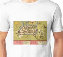 Cork Vintage map.Geography Irland ,city view,building,political,Lithography,historical fashion,geo design,Cartography,Country,Science,history,urban Unisex T-Shirt