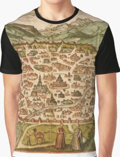 Damascus Vintage map.Geography Syria  ,city view,building,political,Lithography,historical fashion,geo design,Cartography,Country,Science,history,urban Graphic T-Shirt